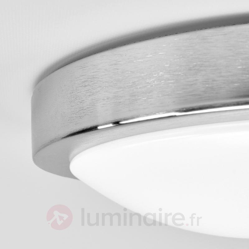 Plafonnier salle de bains LED Aras, détecteur, alu - Plafonniers avec détecteur
