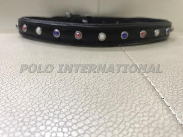 Dog collar - stone stud black dog collar