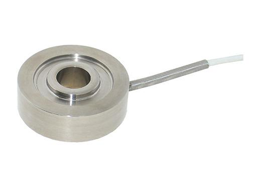 MINIATURE RING LOAD CELL- 8438 - Compact, flat disc design, small diameter, low overall height, stainless steel