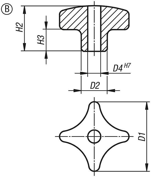 Écrou croisillon en Inox similaire à DIN 6335 - Poignées et boutons