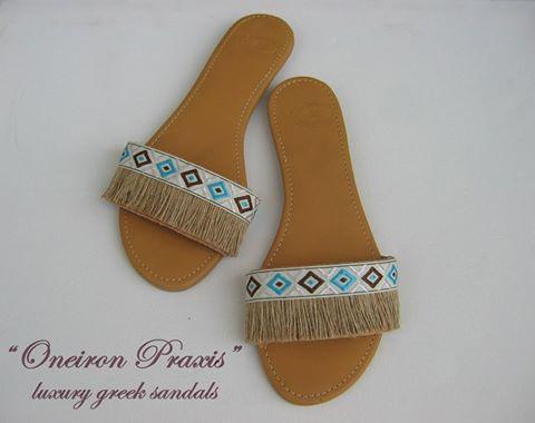 """Δερμάτινα """"boho style"""" σανδάλια  - Κατασκευασμένα από υψηλής ποιότητας ελληνικό δέρμα."""