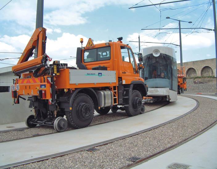 Véhicule Rail-Route - UNIMOG Grue