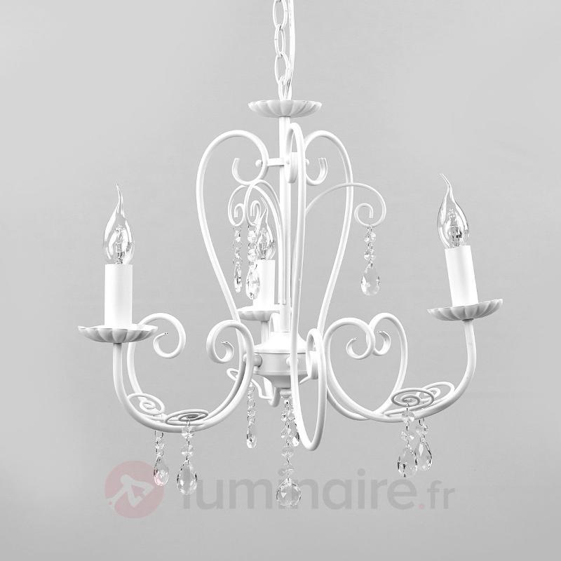 Lustre blanc Sophina, à 3 lampes - Lustres classiques,antiques
