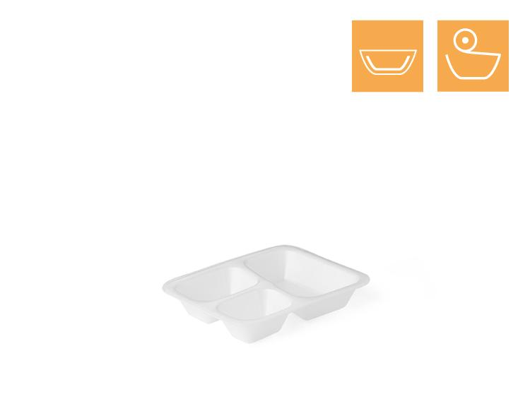 Menu tray 615, 3-comp, laminated - EPS Sealing trays