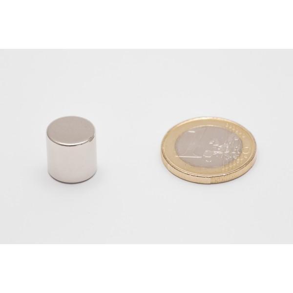 Neodymium disc magnet 12x12mm, N45, Ni-Cu-Ni, Nickel coated - Disc