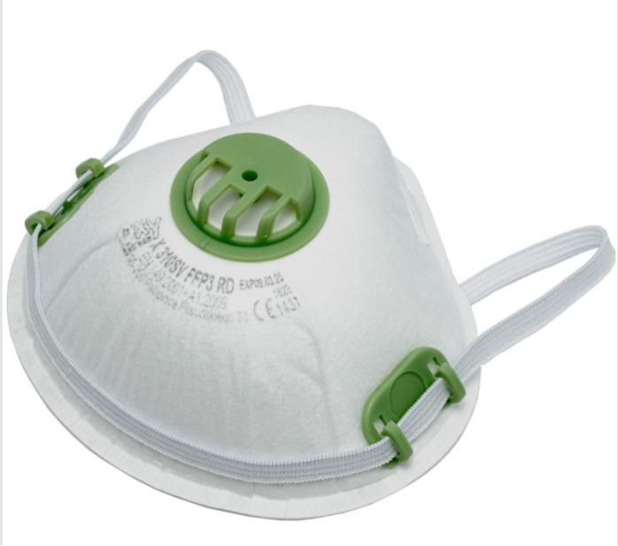 FFP3 R D Halbmaske, N95 (BFE ≥ 95%), mit Ventil - hergestellt in Europa