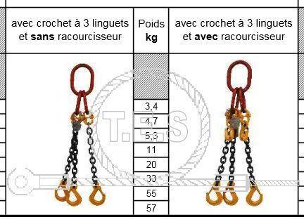 CHAINE 3 BRINS AVEC CROCHETS DE SECURITE  - Model : 4T25 / CLASSE 8 - LG 1 METRE