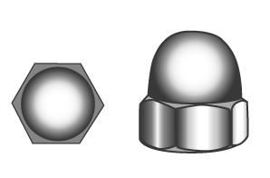 Hexagon domed cap nuts, high type, pressed form - Material A2   A4   1.4529