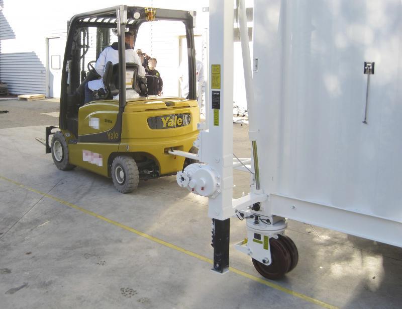 Jeu de roues pour conteneurs 4336 - 4 - 32 t - Rouleaux de conteneur 4336 - 4 à 32 t, déplacement des conteneurs sur sol ferme