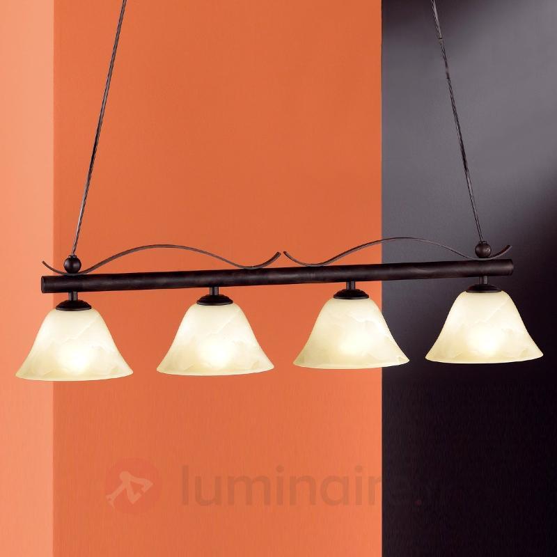Suspension rampe rustique DANA à 4 lampes - Suspensions rustiques