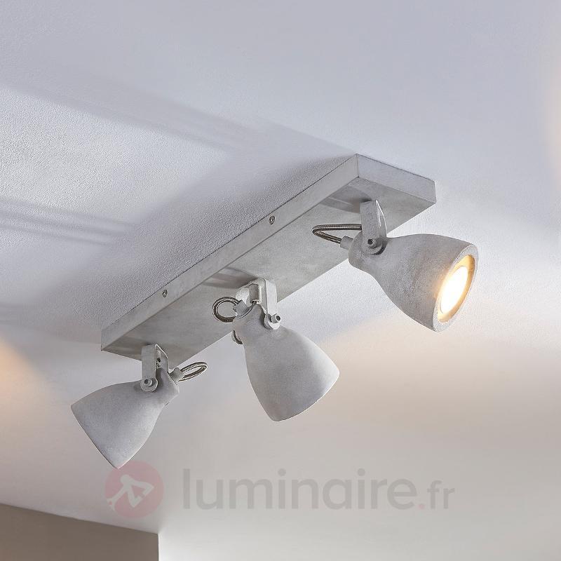 Plafonnier LED béton Kadiga à 3 lampes - Spots et projecteurs LED