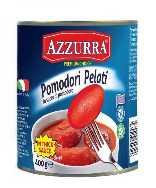 Italian canned tomatoes - Azzurra brand Italian peeled tomatoes