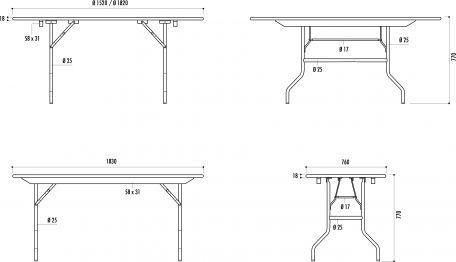 Table Pliante Rectangle Tarragone - Tables De Collectivités