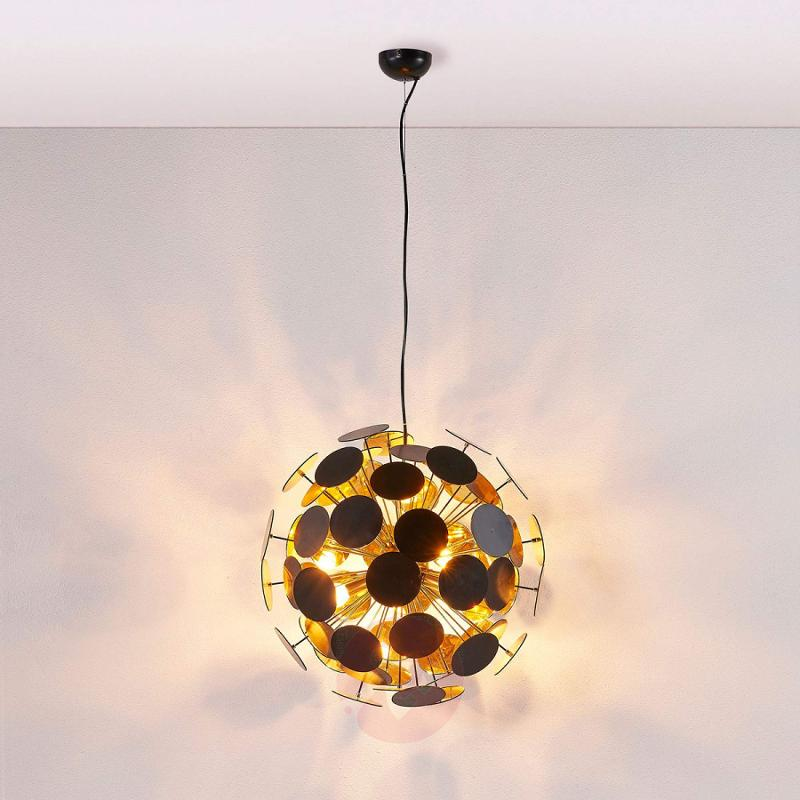 Hanging lamp Kinan with panes in black and gold - indoor-lighting