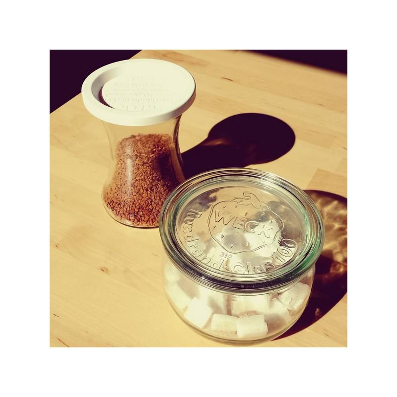 WECK BOBINE® glazen - 6 glazen WECK Bobine® 370 ml met deksels en verbindingsstukken (niet ingesloten