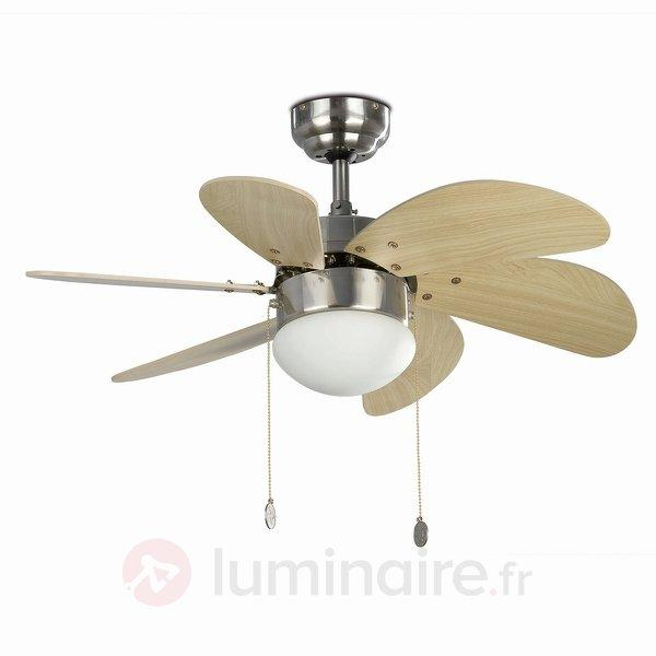 Beau ventilateur de plafond PALAO, nickel mat - Ventilateurs de plafond modernes