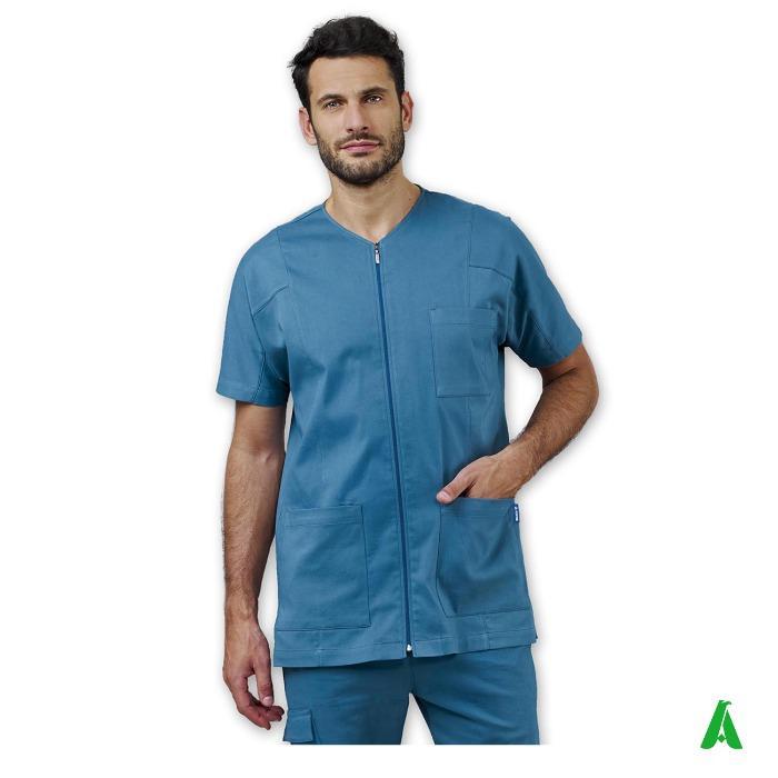Casacca uomo scollo V per beauty & wellness - Casacca in tessuto modal elasticizzato con tasche per centri massaggi e wellness