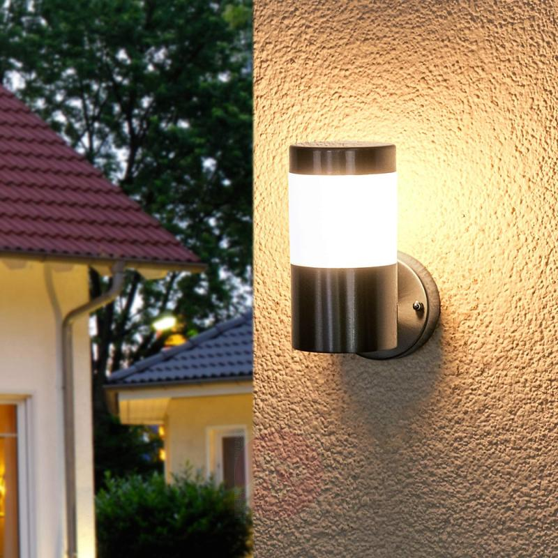 Stainless steel outdoor wall light Belina w. LEDs - outdoor-led-lights