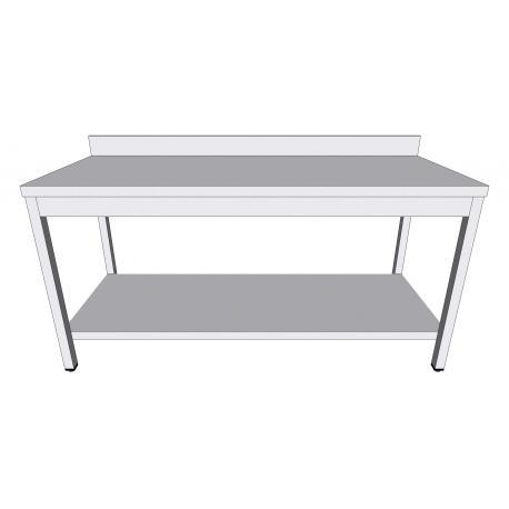 Table de travail adossée en inox - Tables de travail inox à monter
