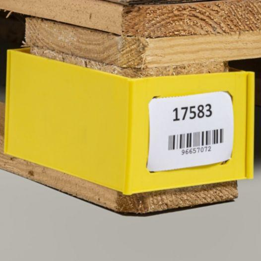 Pallet foot clip, 100 x 75 x 150 mm, blue - for labels in size A7 and A8, Material PP