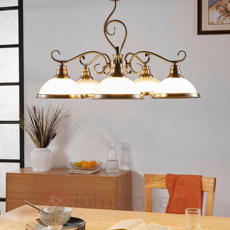 Suspension pleine de style à cinq lampes Frieda - Suspensions classiques, antiques