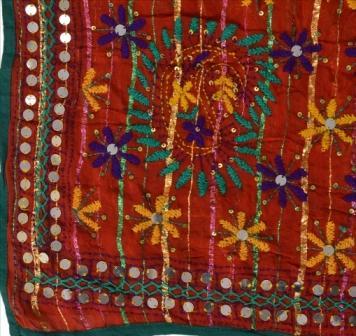 Long Scarf Heavy Dupatta Phulkari Stole - New Heavy Dupatta Long Scarf Georgette Hand Embroidered Woven Phulkari Stole