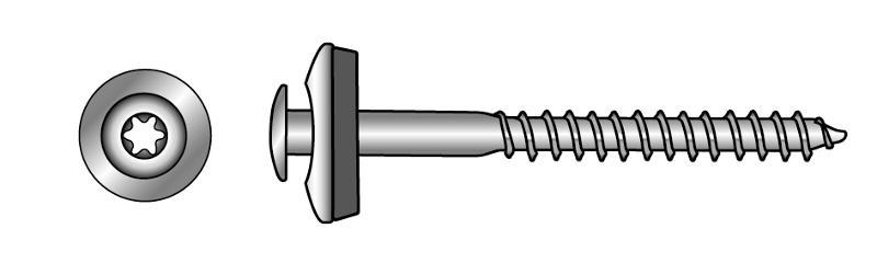 Raised countersunk head wood screws, A2, TX-six lobe... - Material A2