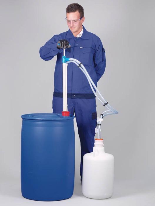 Pompe vide-fût hermétique PP - Pompe manuelle, transfert de liquides sans odeur