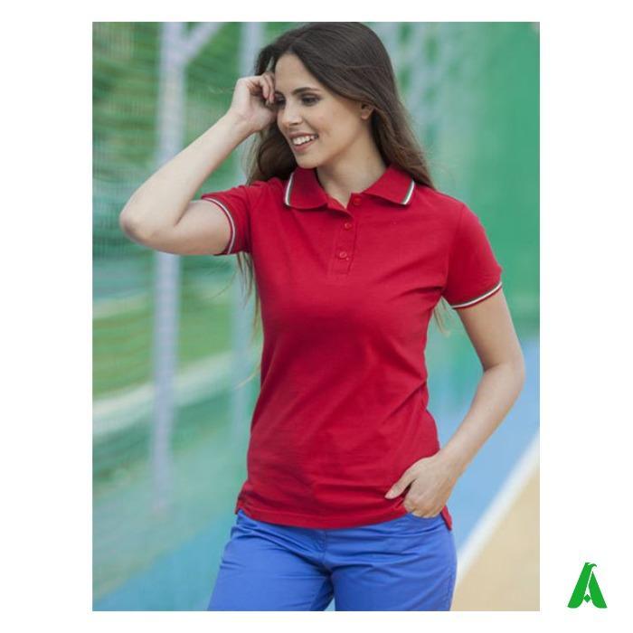 Polo donna Made in Italy con tricolore - Polo piquet per donna, Made in Italy 100% cotone di alta qualita', con tricolore