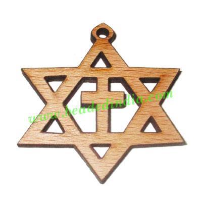 Handmade wooden star of david and cross pendants, size : 39x - Handmade wooden star of david and cross pendants, size : 39x48x4mm