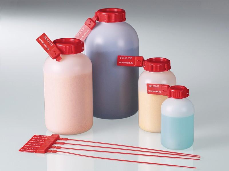Sealable wide-necked bottles - Plastic bottle with sealing eyelets, HDPE, transport of samples