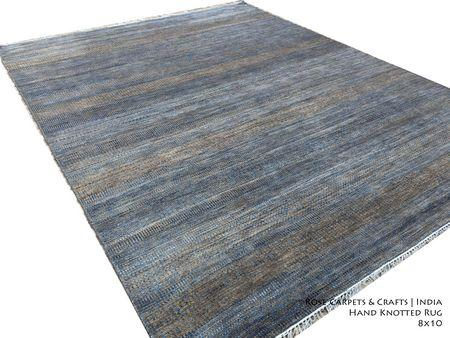 Indian Hand Knotted Contemporary Rug in Wool & Silk - Hand Knotted Contemporary Style Carpet in Wool & Viscose Silk Pile in size 8x10