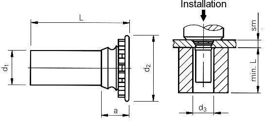 Self-clinching fasteners - PEM® - Self-clinching flush head pins Type FH, FHS
