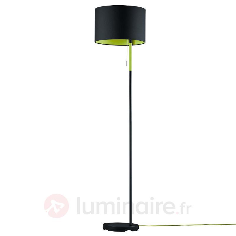 Lampadaire Landor en tissu noir-vert - Lampadaires en tissu