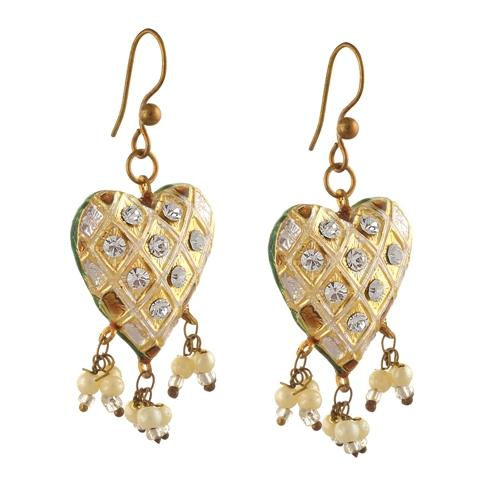 Meenakari Hanging Hook Earrings - Ornamenta Fashion Hanging Hook Heart Shaped Earrings with Meenakari