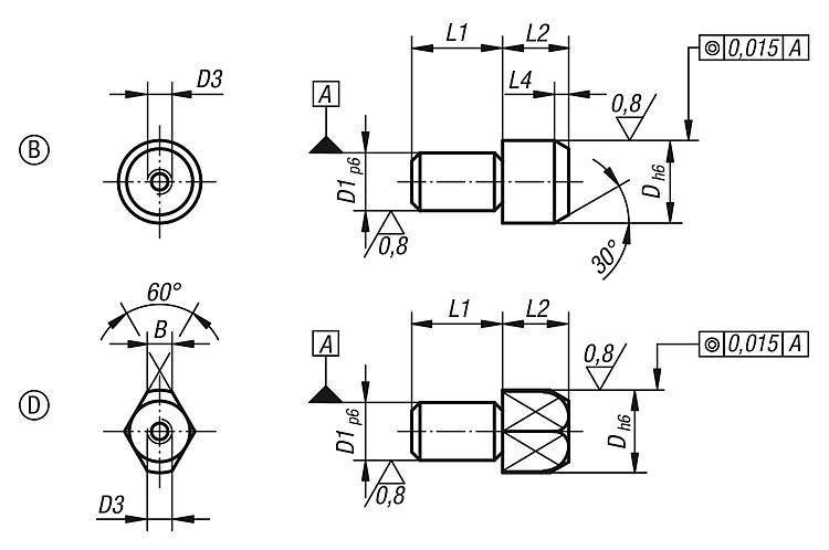 Locating Pins, Removable, Form B And D - Spring plungers Indexing plungers Stops Centring/positioning components Ball loc