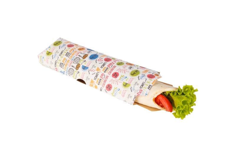 "Pillow pack «Enjoy» - Kraft pack with ""Enjoy"" print for a gyro sandwich"