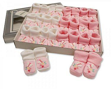 Baby Booties with Embroidery - Butterfly  -