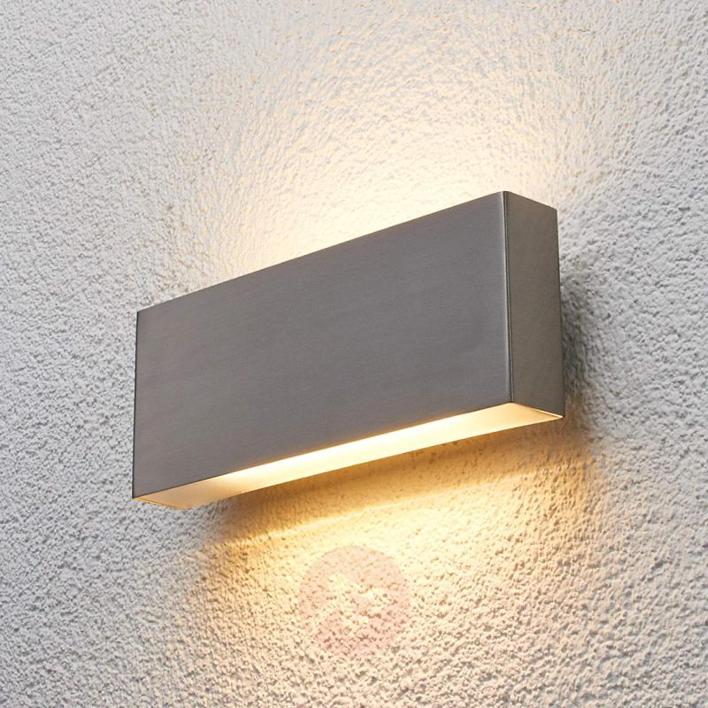 Steel outdoor wall light Safira with LED - stainless-steel-outdoor-wall-lights