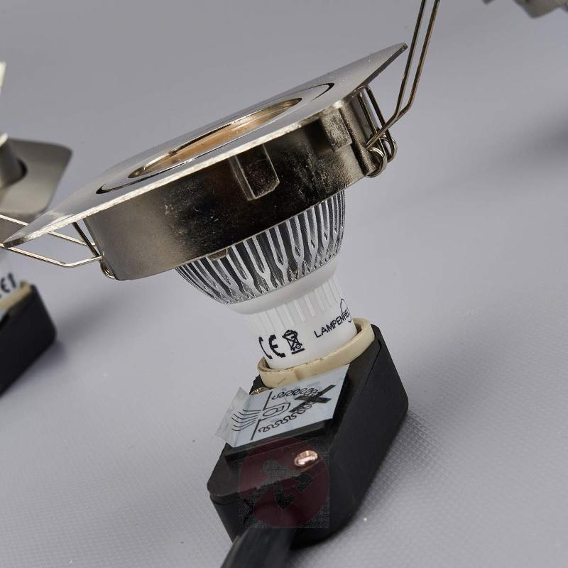 Rectangular LED spotlight Lisara in 3-set nickel - Recessed Spotlights