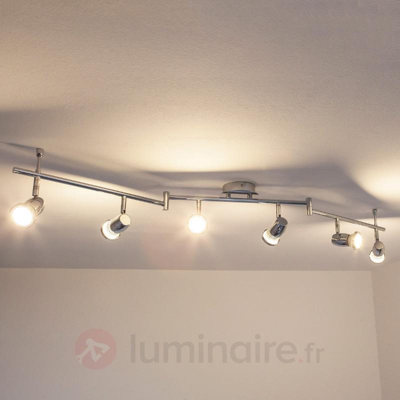 Plafonnier chromé LED Arminius à 6 lampes - Plafonniers LED