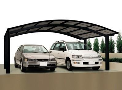 Abri voiture en métal double - En forme de M