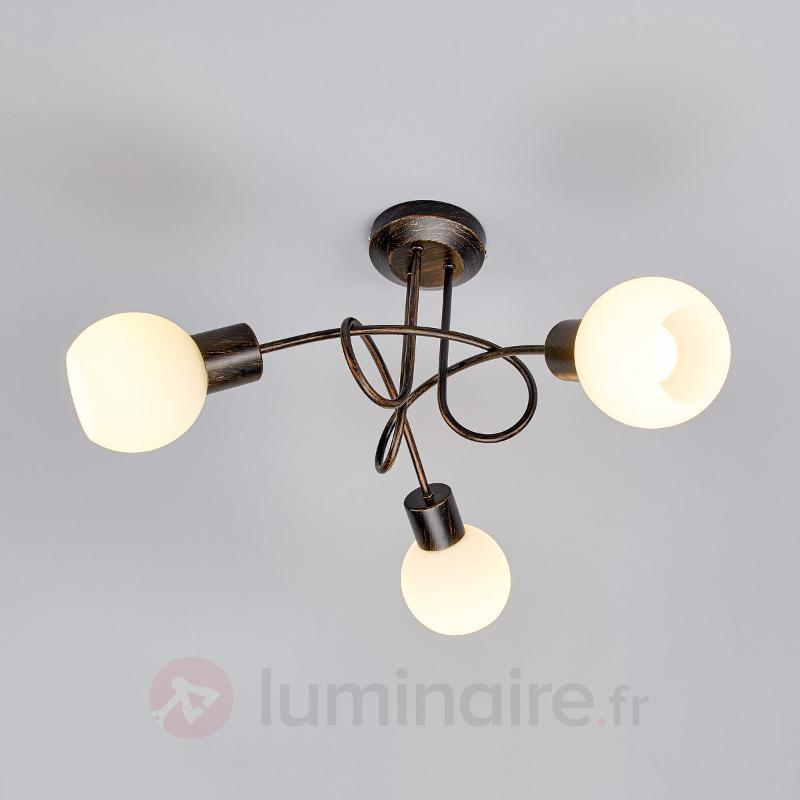Plafonnier LED Elaina à 3 lampes, brun rouille - Plafonniers LED
