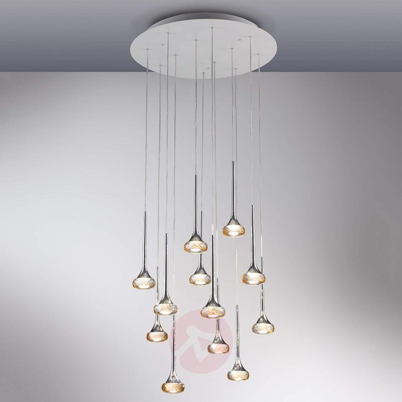Twelve-bulb LED pendant light Fairy, amber - design-hotel-lighting