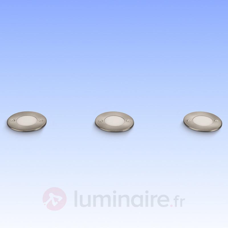 Lot de 3 spots LED encastrés au sol Clover - Luminaires LED encastrés au sol