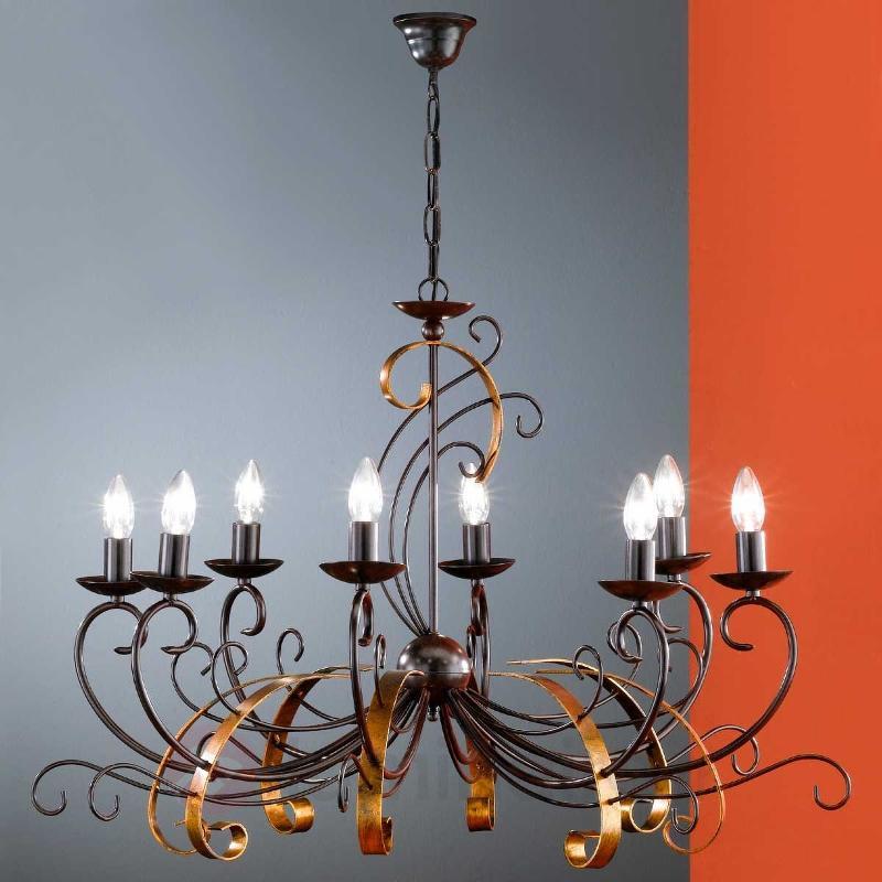 Lustre GARRA à 8 lampes à l'aspect antique - Lustres rustiques