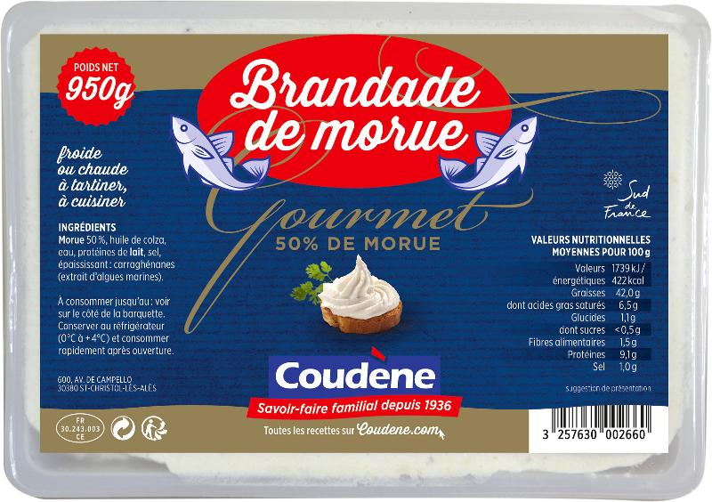 Brandade de morue Gourmet barquette 950g - Produits de la mer