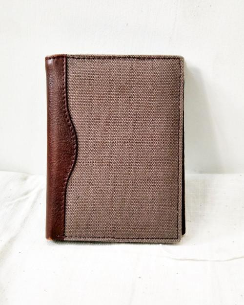 Canvas leather notecase in cow NDM leather for men - leather notecase wallet for men in canvas with cow leather