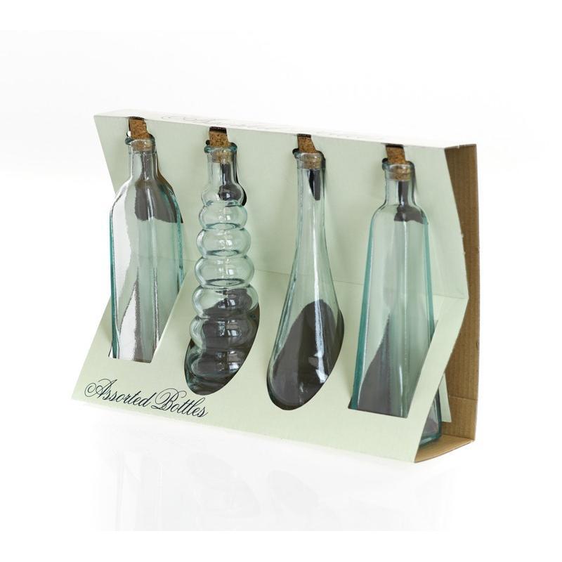 Assortiment de 4 mini bouteilles en verre 120 ml avec bouchons en liège