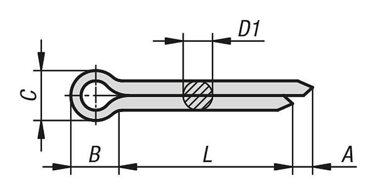 Goupille fendue DIN EN ISO 1234 - Éléments de liaison